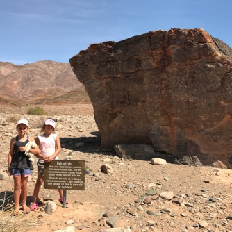 Viewing the petroglyphs on entry into the area